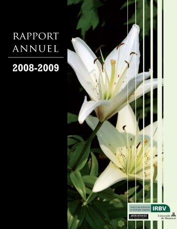 Rapport annuel 2008-2009 - Institut de recherche en biologie ...