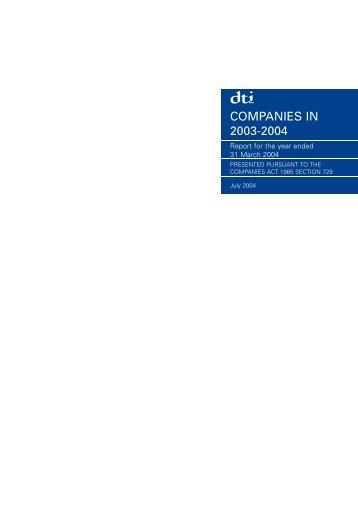COMPANIES IN 2003-2004 - Companies House