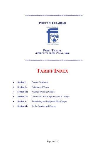 TARIFF INDEX - Port Of Fujairah