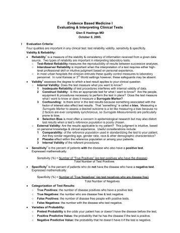 Evidence Based Medicine - KU School of Medicine–Wichita