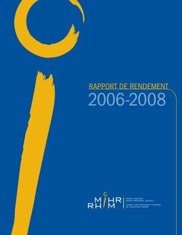 Rapport de rendement 2006-2008 - MiHR
