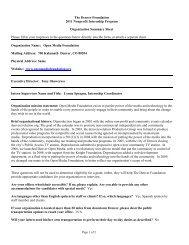 The Denver Foundation 2011 Nonprofit Internship Program ...