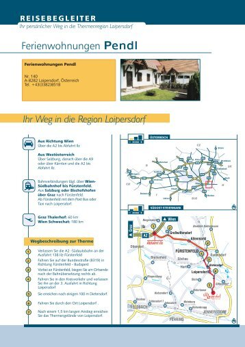 Ihr Weg in die Region Loipersdorf Ferienwohnungen Pendl