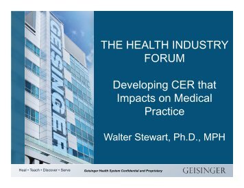 Developing CER that Impacts on Medical Practice - Health Industry ...