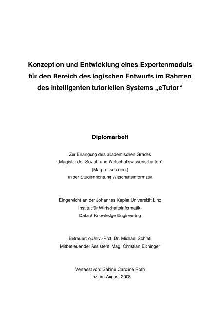 Konzeption und Entwicklung eines Expertenmoduls für den Bereich ...