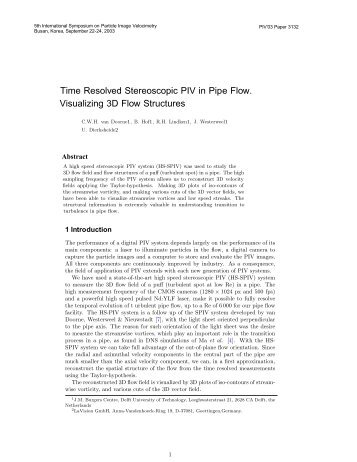 Time Resolved Stereoscopic PIV in Pipe Flow. Visualizing 3D Flow ...