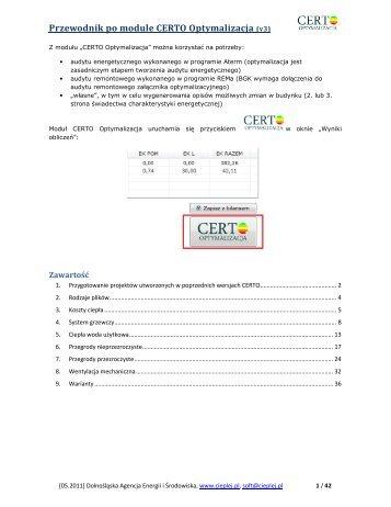 Przewodnik po module CERTO Optymalizacja (v3) - Cieplej.pl