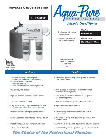 REVERSE OSMOSIS SYSTEM AP-RO5500 - Water Filters Online