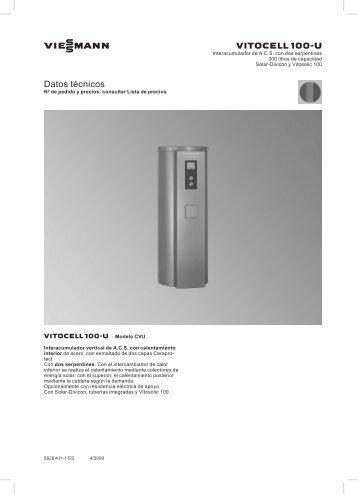 Datos técnicos Vitocell 100-U CVU666 KB - Viessmann
