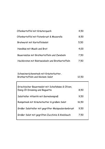 Ofenkartoffel mit Kräuterquark 4,50 Ofenkartoffel mit Putenbrust ...