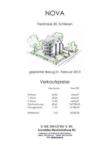 Verkaufspreise - Homegate.ch