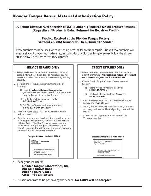 Return Material Authorization - Blonder Tongue Laboratories Inc.
