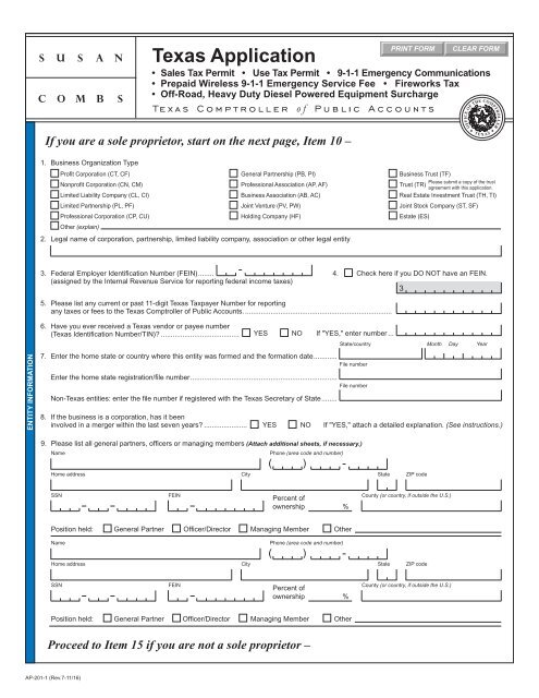 Texas Sales Tax >> Ap 201 Texas Application For Texas Sales And Use Tax Permit