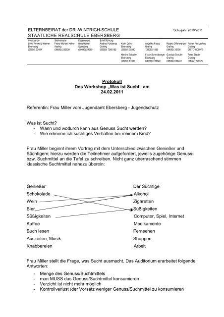 "Protokoll Des Workshop ""Was ist Sucht"" - Realschule Ebersberg"