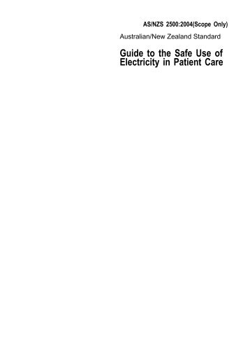Guide to the Safe Use of Electricity in Patient Care - Standards New ...