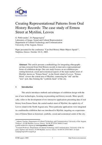 Creating Representational Patterns from Oral History Records - ICME