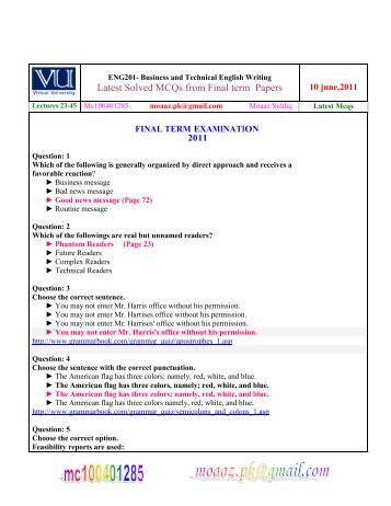 eng 201 solved papers mid term Eng201 current finalterm paper 20 february 2018 | fall 2017 | 3)which word and structure are used  formal and informal situtation virtual university students in their study programsits a plateform where you can get all your past papers which are made by different students of virtual university.