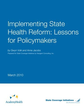Implementing State Health Reform: Lessons for Policymakers - NIATx