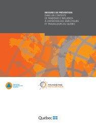 Mesures de prévention dans un contexte de pandémie d'influenza à