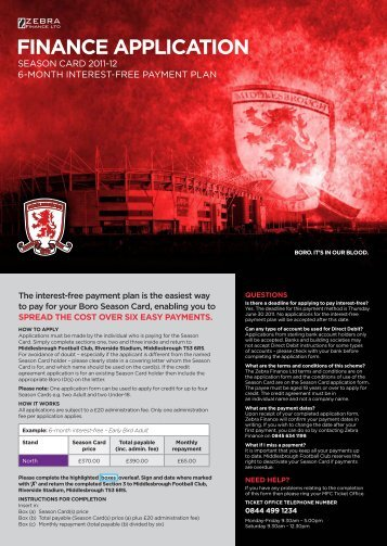 to download details of the Zebra Season Card ... - Middlesbrough