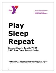 Camp Parent Handbook - YMCA of Greater Charlotte