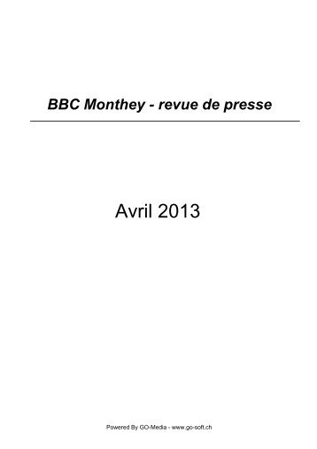 Avril 2013 - BBC Monthey