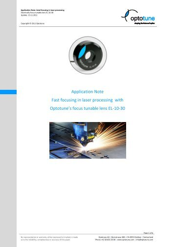 Application Note Fast focusing in laser processing with Optotune's ...