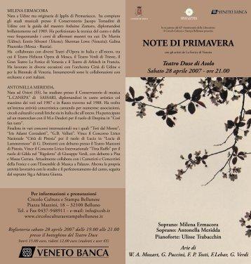 NOTE DI PRIMAVERA - ASOLO.it