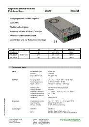 Regelbare Stromquelle mit Poti-Anschluss 200 W DPA-200