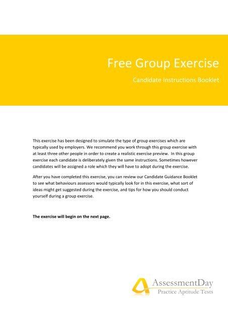 Group Exercise Instructions Pdf Aptitude Test