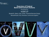 Overview of Federal Bank Enforcement Actions - Venable LLP