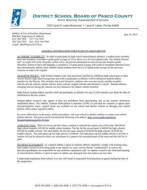 Athletic participation form - Pasco County Schools