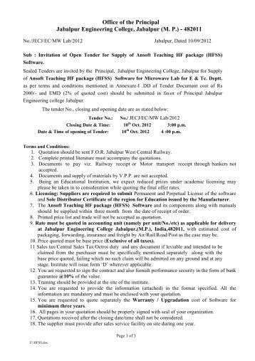 Tender document for security guards iiitdm jabalpur for Tender specification template