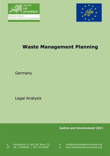 Waste Management Planning - Justice and Environment