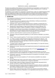 Service Level Agreements  - JT Global