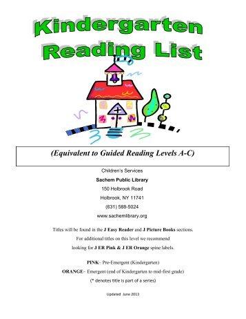 kindergarten guided reading level book list sachem public library - Kindergarten Book List