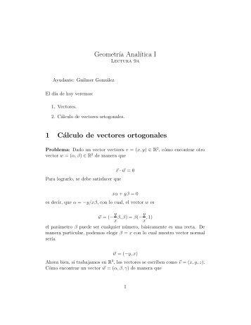 Geometr´ıa Anal´ıtica I 1 Cálculo de vectores ortogonales