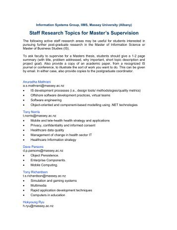 Staff Research Topics for Master's Supervision - Brian Whitworth