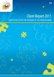 Client Report 2011 - Translation Centre for the Bodies of the ...