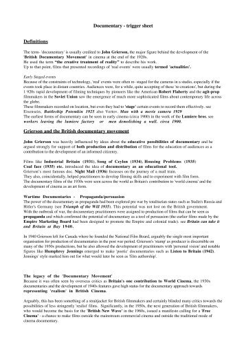 Documentary - trigger sheet Definitions Grierson and the ... - home