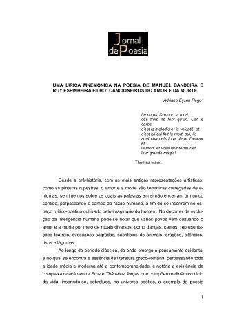 Uma lírica mnemônica na poesia de Manuel ... - Jornal de Poesia