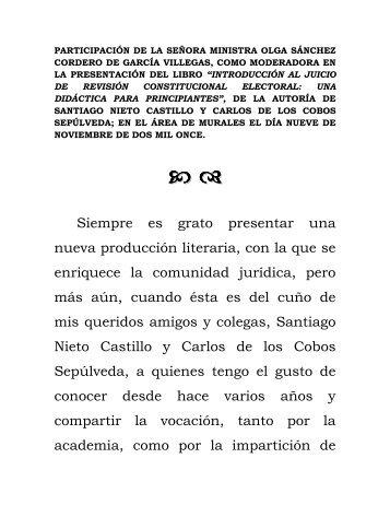 Participación de la Señora Ministra Olga Sánchez Cordero de ...