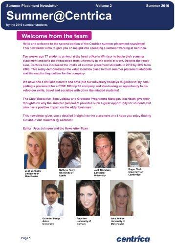 Centrica plc - Summer Placement Newsletter - Volume 2 - Summer ...