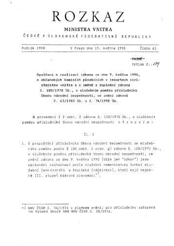 Rozkaz ministra vnitra ČSFR č. 61