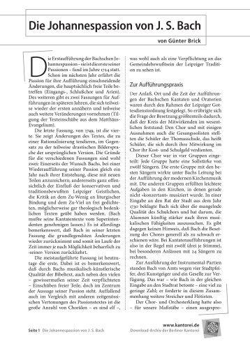 Die Johannespassion von J. S. Bach - bei der Berliner Kantorei!