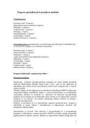 Program specijalizacije iz porodične medicine - Udruzenje ljekara ...