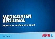 RPR1. Mediadaten 2013 Regional - RadioCom SW GmbH