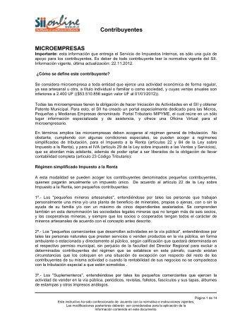 Microempresas - Servicio de Impuestos Internos