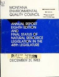 Annual Report, Eighth Edition - Montana Legislature
