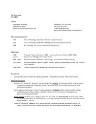 Download CV - Department of Biology - University of Florida